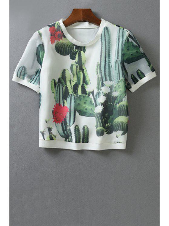unique Cactus Print Short Sleeve T-Shirt - WHITE M