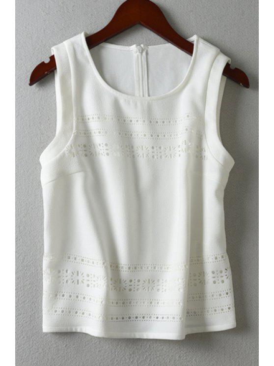 sale Hollow White Scoop Neck Tank Top - WHITE S