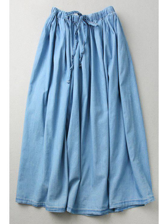 lady Light Blue Denim Elastic Waist Drawstring Skirt - LIGHT BLUE ONE SIZE(FIT SIZE XS TO M)