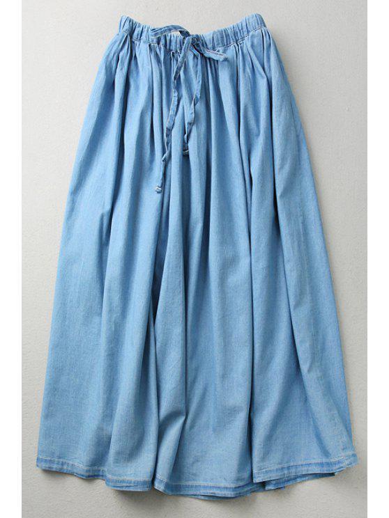 lady Light Blue Denim Elastic Waist Drawstring Skirt - LIGHT BLUE ONE SIZE(FIT SIZE XS TO M)