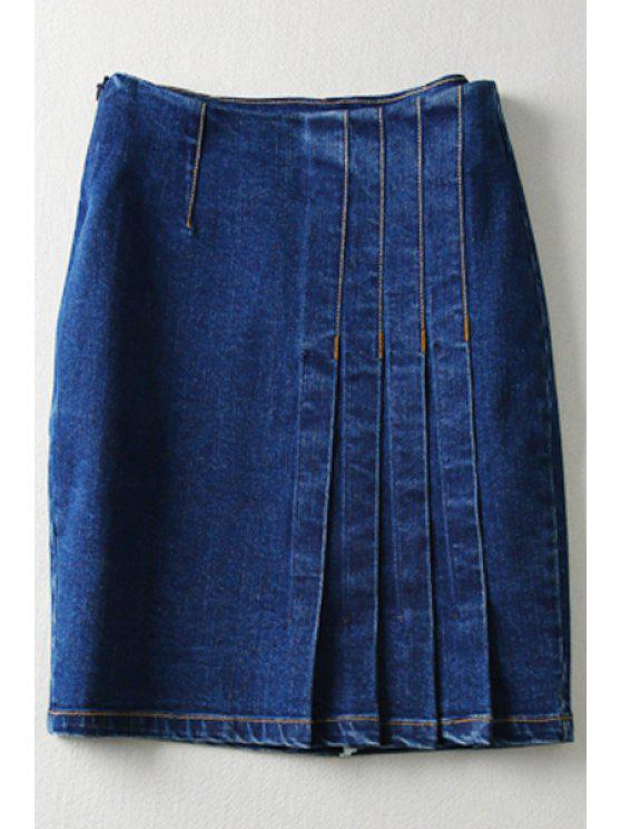 new Pure Color High Waisted Denim Skirt - DEEP BLUE M