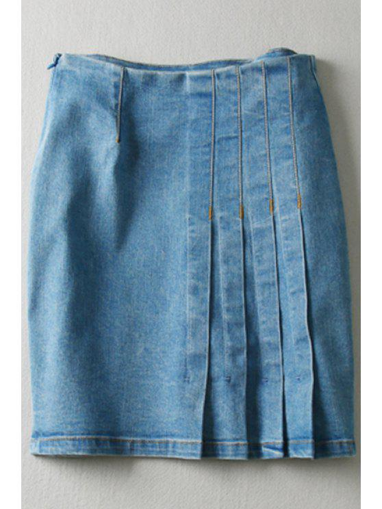trendy Pure Color High Waisted Denim Skirt - LIGHT BLUE L