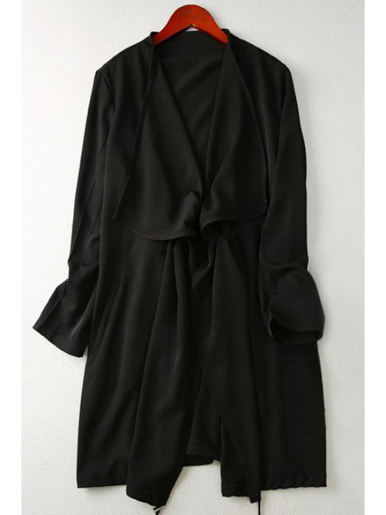lady Solid Color Turn Down Collar Long Sleeves Trench - BLACK XS