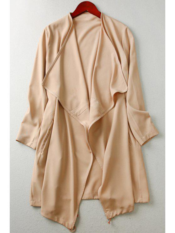 shop Solid Color Turn Down Collar Long Sleeves Trench - KHAKI L