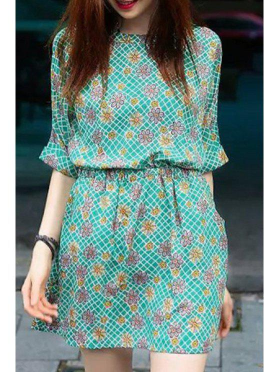 outfit Floral Print Plaid Elastic Waist Dress - GREEN S