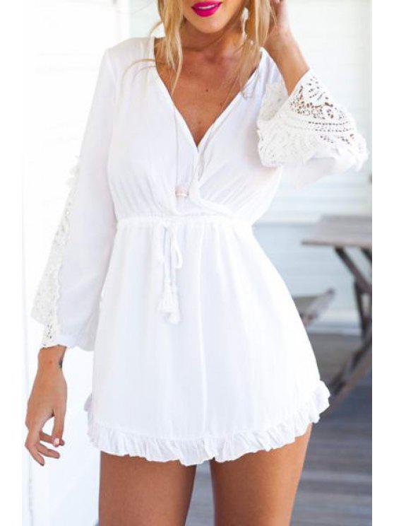 fashion V Neck Lace Splicing Tie-Up Dress - WHITE S