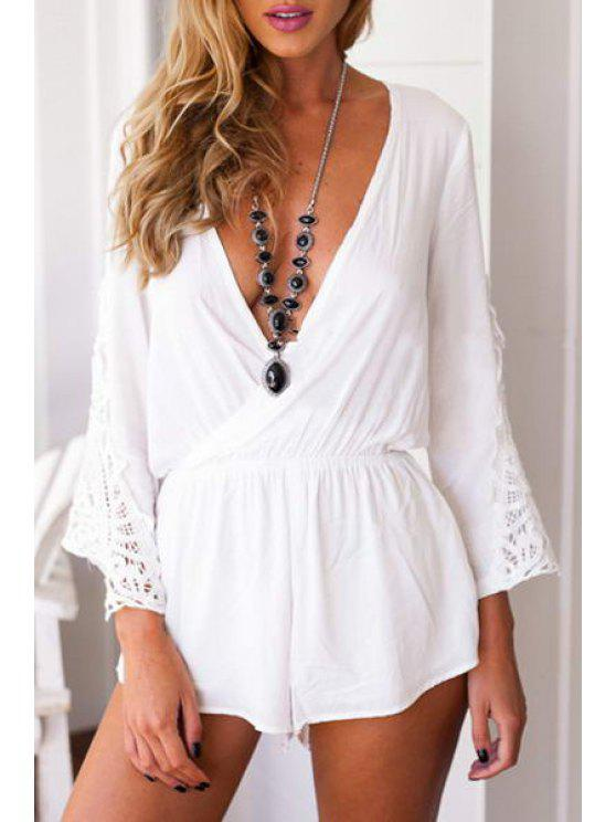 womens Plunging Neck Solid Color Lace Splicing Playsuit - WHITE S