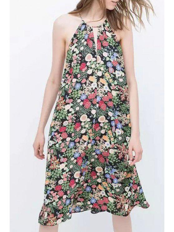 women Spaghetti Strap Colorful Floral Print Dress - COLORMIX S