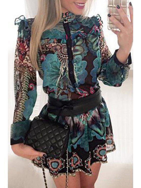 affordable Floral Print Floucing Nipped Waist Romper - AZURE S