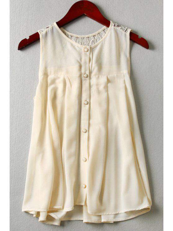 fashion Lace Spliced Sleeveless Blouse - OFF-WHITE XS