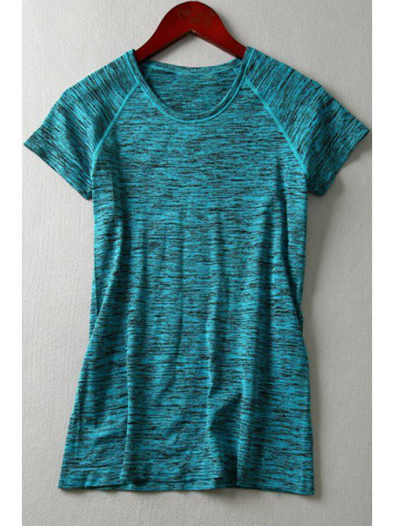 affordable Pure Color Short Sleeves T-Shirt - BLUE S