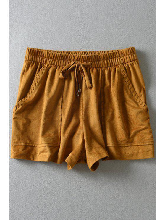 shops Yellow Elastic Waist Straight Leg Shorts - YELLOW XS
