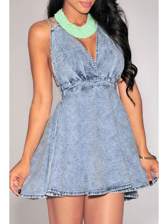 women's Plunging Neck Backless Criss-Cross Denim Dress - BLUE S