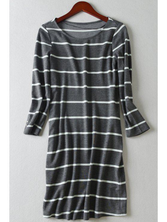 online Striped Straight 3/4 Sleeve Dress - GRAY L