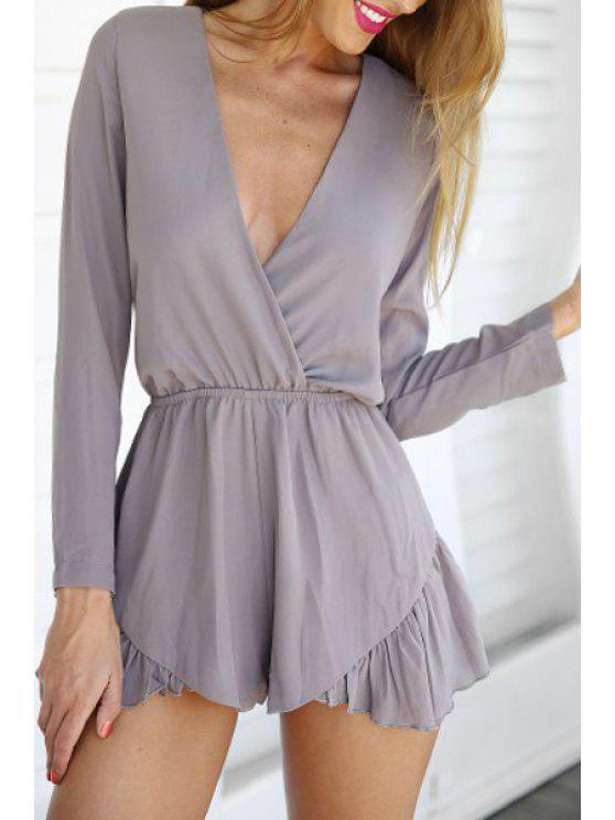 chic Solid Color Flounce Long Sleeve Playsuit - GRAY L