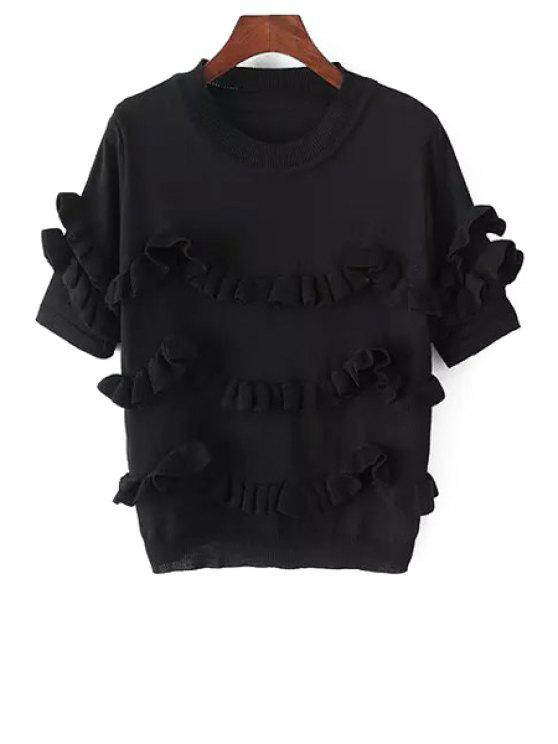 womens Short Sleeve Solid Color Flouncing Sweater - BLACK ONE SIZE(FIT SIZE XS TO M)