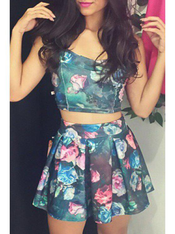 shops Backless Sleeveless Crop Top + Floral Print Skirt - COLORMIX S