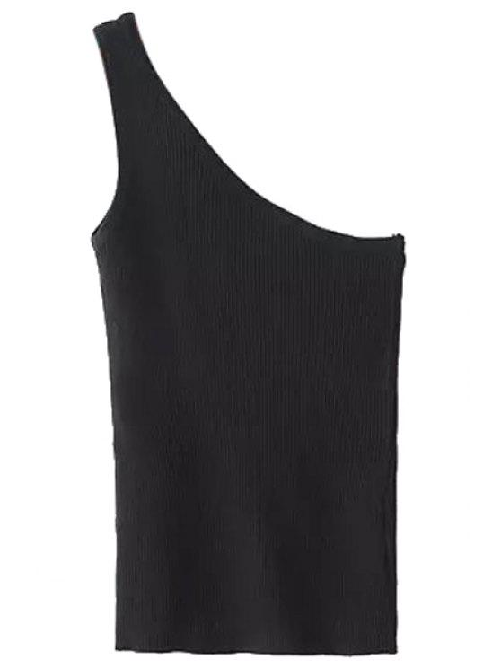 new One Shoulder Knitted Tank Top - BLACK ONE SIZE(FIT SIZE XS TO M)