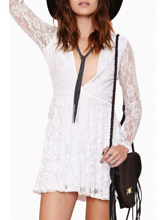 new Deep V Neck See-Through Lace Dress - WHITE XS