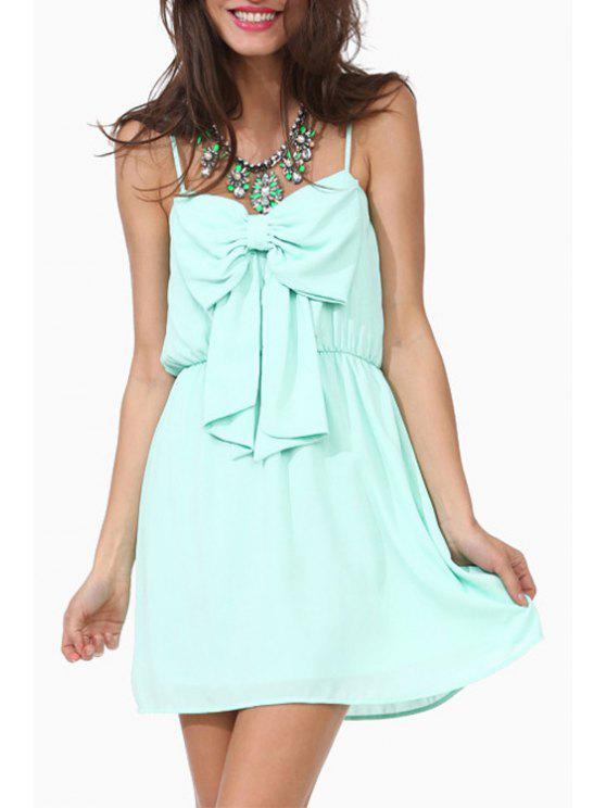 new Spaghetti Strap Bowknot Embellished Sleeveless Dress - LIGHT GREEN XS