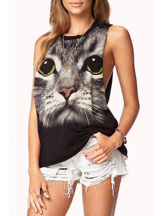 lady Cat Print Sleeveless Tank Top - BLACK XS