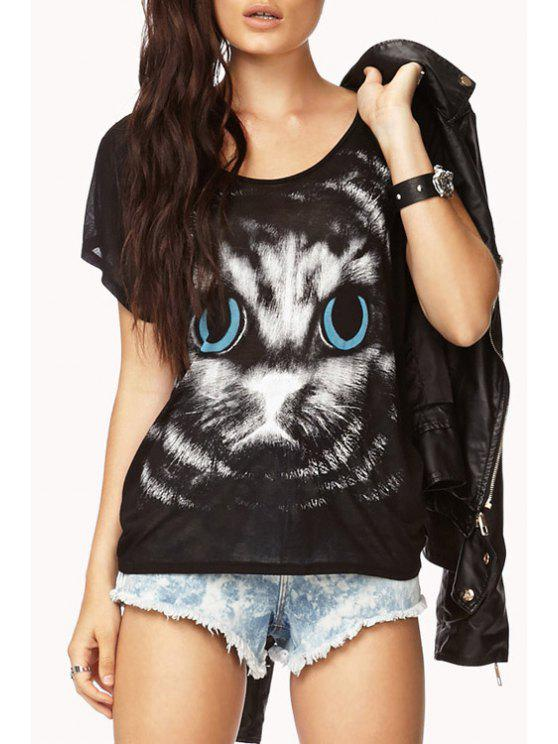 chic Scoop Neck Cat Print Short Sleeve T-Shirt - BLACK XS