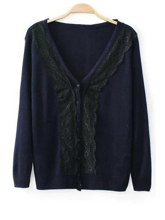 women Lace Spliced Single-Breasted Cardigan - PURPLISH BLUE M