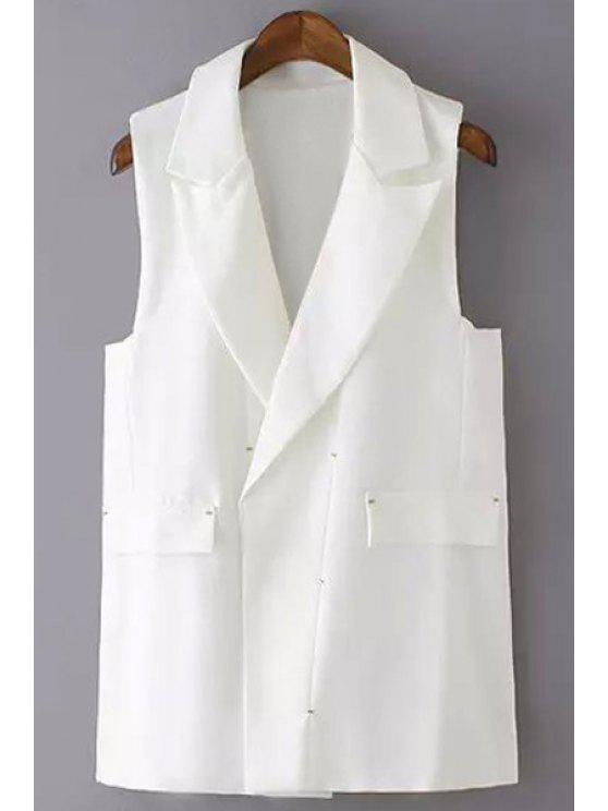sale Solid Color Lapel Waistcoat - WHITE M