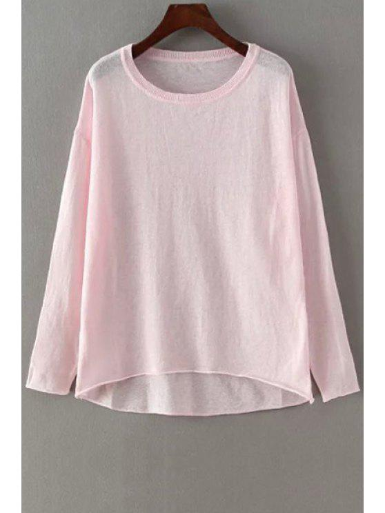 0fae98d5 22% OFF] 2019 Solid Color Loose-Fitting Linen T-Shirt In LIGHT PINK ...