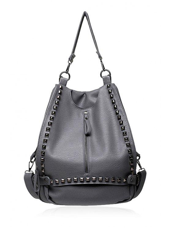 best Zipper Rivets Solid Color Shoulder Bag - LIGHT GRAY