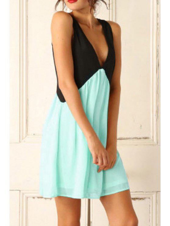 unique Color Spliced Plunging Neck Sleeveless Dress - GREEN S