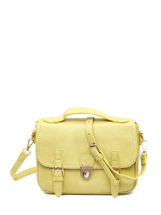 shop Belt Buckle Candy Color Crossbody Bag - LIGHT YELLOW