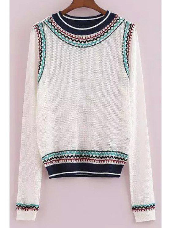 hot See-Through Stripe Long Sleeve Sweater - WHITE S