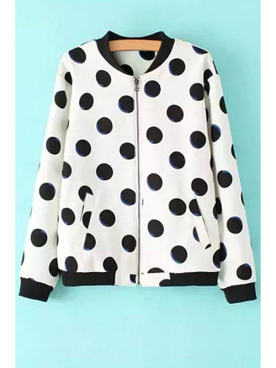 best Polka Dot Fleece Lining Suede Coat - WHITE S