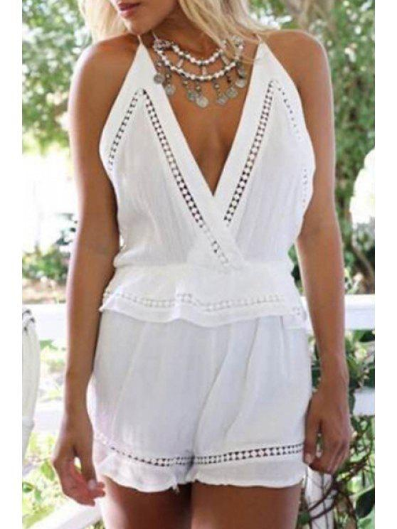 womens White Hollow Cami Playsuit - WHITE S