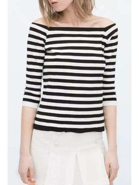 new Slash Neck Stripe High Low 3/4 Sleeve T-Shirt - WHITE AND BLACK ONE SIZE(FIT SIZE XS TO M)
