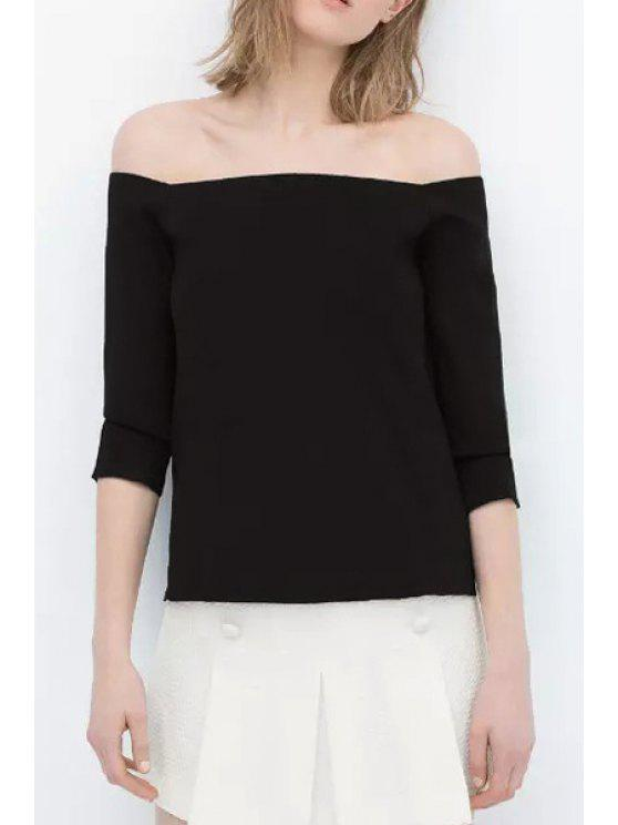 outfit Slash Neck Black High Low 3/4 Sleeve T-Shirt - BLACK ONE SIZE(FIT SIZE XS TO M)