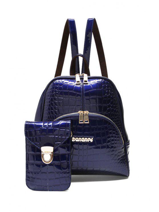 hot Crocodile Print Patent Leather Zipper Satchel - DEEP BLUE