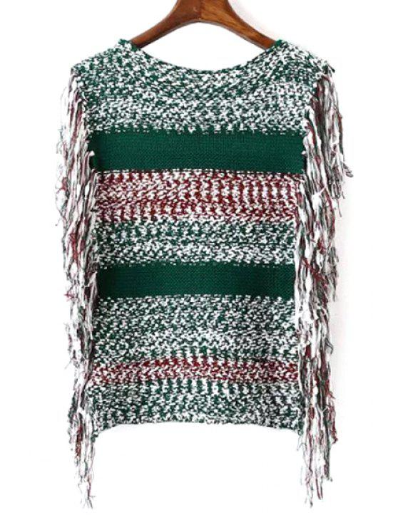 trendy Color Block Fringe Sleeveless Sweater - COLORMIX ONE SIZE(FIT SIZE XS TO M)