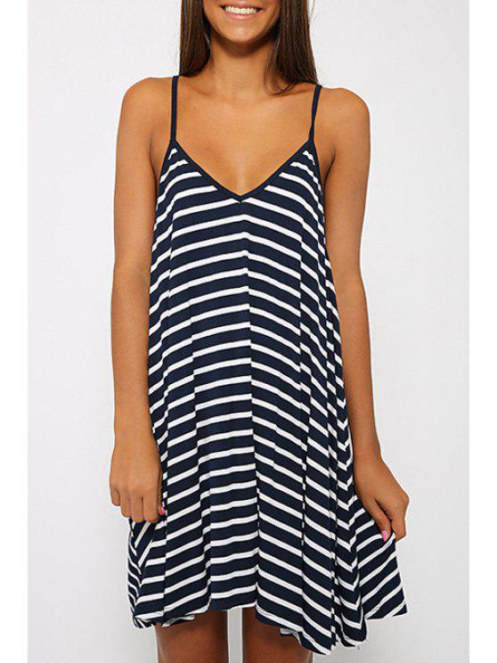 shops Striped Cami Backless Dress - WHITE AND BLACK S