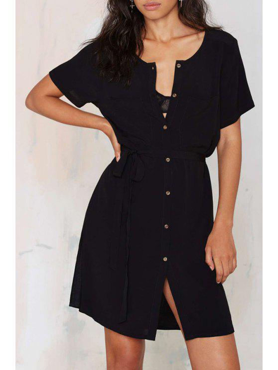 women Black Short Sleeve Split Dress - BLACK S