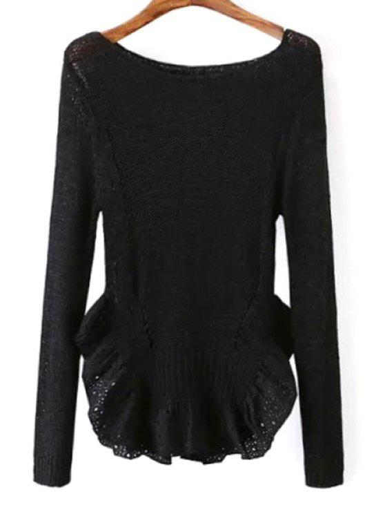unique Scoop Neck See-Through Flounce Splicing Sweater - BLACK ONE SIZE(FIT SIZE XS TO M)