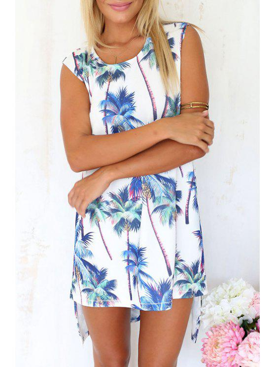 women Coconut Palm Print Sleeveless Dress - AS THE PICTURE S