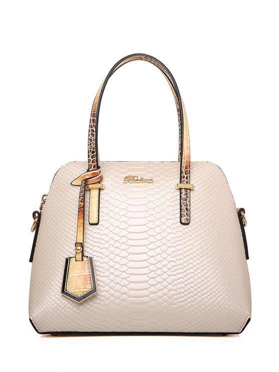 shops Snake Print Color Block Tote Bag - OFF-WHITE