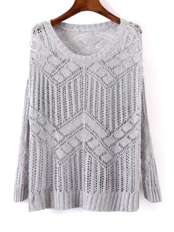 fashion Openwork See-Through Sweater - GRAY ONE SIZE(FIT SIZE XS TO M)