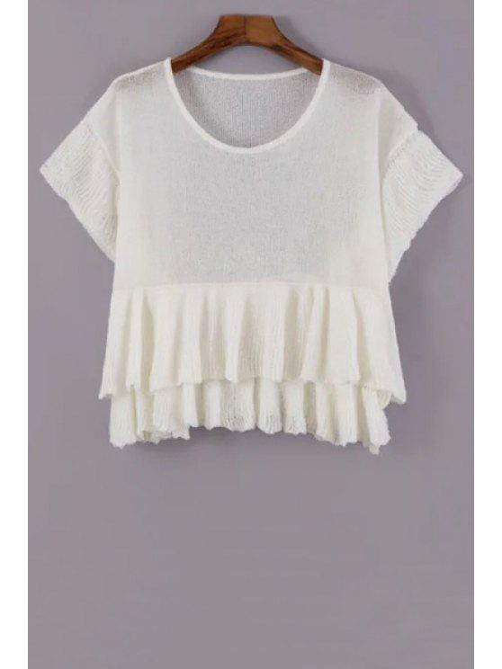 outfits Solid Color Flounce Short Sleeve Sweater - WHITE ONE SIZE(FIT SIZE XS TO M)
