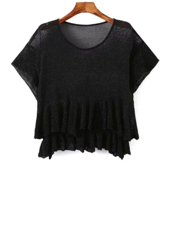 fancy Solid Color Flounce Short Sleeve Sweater - BLACK ONE SIZE(FIT SIZE XS TO M)