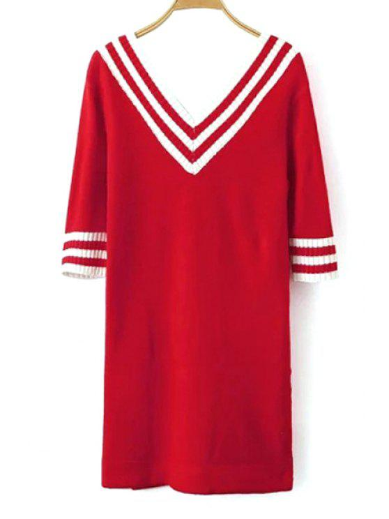 women V-Neck White Stripe Half Sleeve Dress - RED ONE SIZE(FIT SIZE XS TO M)
