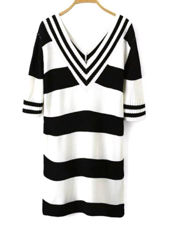 ladies White Black Stripe Half Sleeve Dress - WHITE AND BLACK ONE SIZE(FIT SIZE XS TO M)