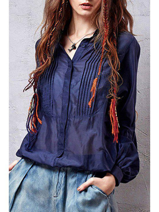 outfits Pleated Loose-Fitting Blue Shirt - DEEP BLUE ONE SIZE(FIT SIZE XS TO M)